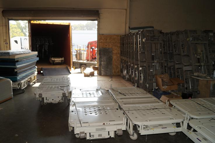 "Hill Rom Advance hospital beds prepared for shipping and packed into container via ""Live Load"" in 2 hours or less!"