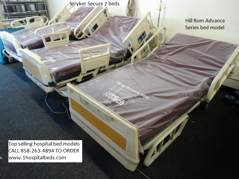 Top selling bed models including Stryker Secure 2 bed models and Hill Rom Advance Series bed.