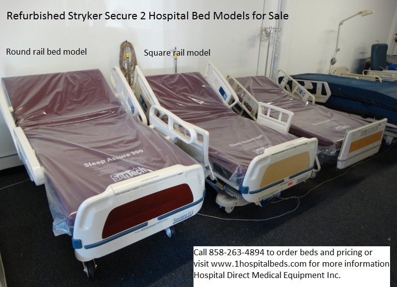 Used refurbished Stryker Secure 2 hospital beds for sale 858-263-4894