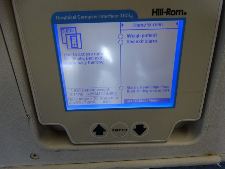 Hill Rom P1830 TotalCare Bariatric Hospital Bed control panel