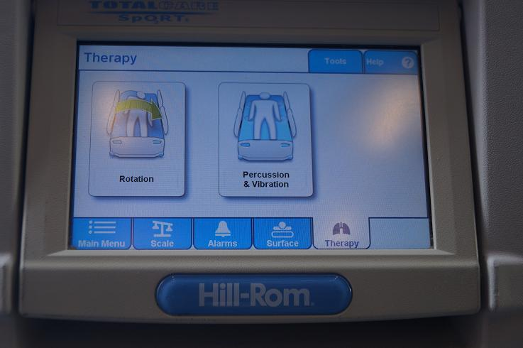 "Hill Rom TotalCare Sport Hospital Bed Rail and Features on the ""Connect 2"" bed model"
