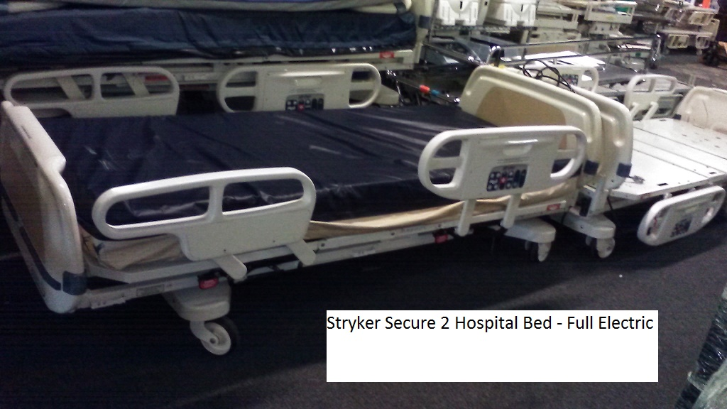 Stryker Secure 2 hospital bed for sale - round rail models 858-263-4894