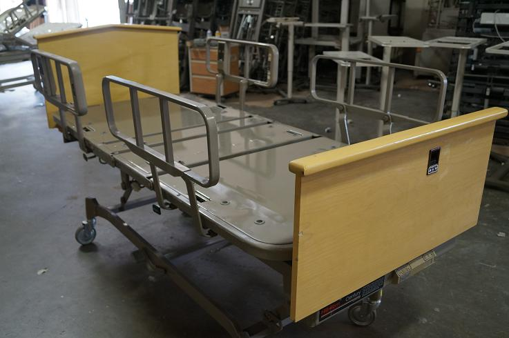 1 Hill Rom Century 837 Hospital Bed refurbished with new paint, wheels, plastic and refinished wood head and foot boards