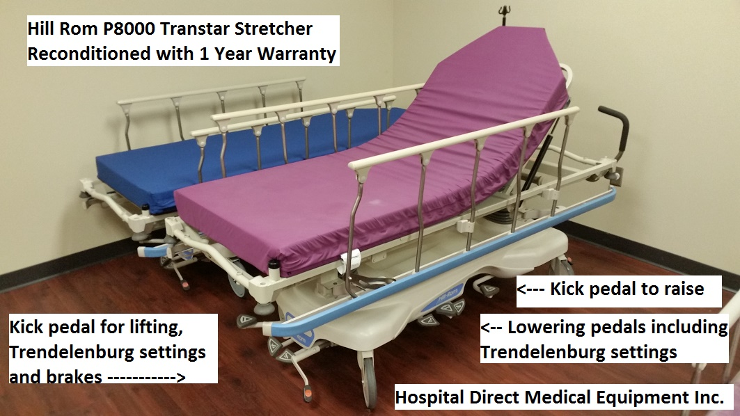 Hill Rom P8000 Transtar stretcher for sale reconditioned refurbished with 1 year warranty and new mattress pad
